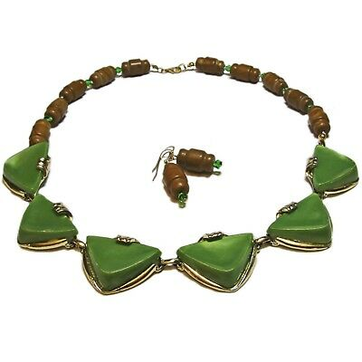 Unique Green Crystal & Brown Stone Vintage Modern Necklace & Earring By SoniaMcD