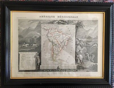 Levasseur Antique Map of South America with Striking Vignettes, 1856, Framed