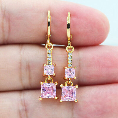 18K Yellow Gold Filled Chic Princess Zircon Pink Topaz Gems Drop Earrings Lady
