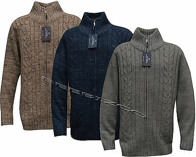 Mens King Size Knitted Full Zip Funnel Neck Jumper Sweater Wool Mix 3XL - 5XL