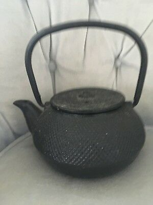 SIGNED VTG Cast Iron Oriental Tea Kettle