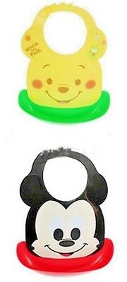 Hubaby Mickey or Pooh Water Proof Plastic Bib Food Catcher with Adjustable Neck