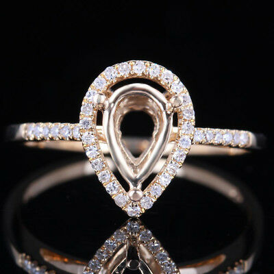 10K Yellow Gold 8x5mm Pear Semi-Mount Setting Engagement Real SI/H Diamonds Ring