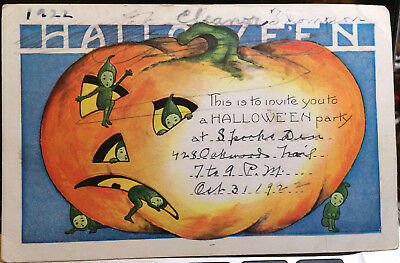 Green Elves, HALLOWEEN Post Card '22 JACK O LANTERN, HALLOWEEN PARTY INVITE