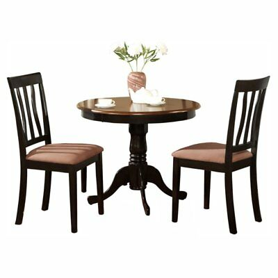 East West Furniture Antique 3 Piece Pedestal Round Dining Table Set with