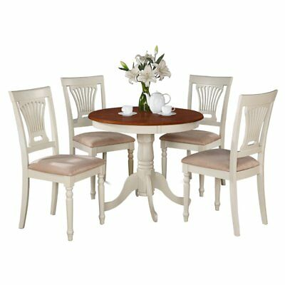 East West Furniture Antique 5 Piece Pedestal Round Dining Table Set with