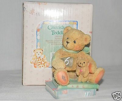 NEW Cherished Teddies 911283 Age 6 Chalking Up Six Wishes 1992 Hillman COA