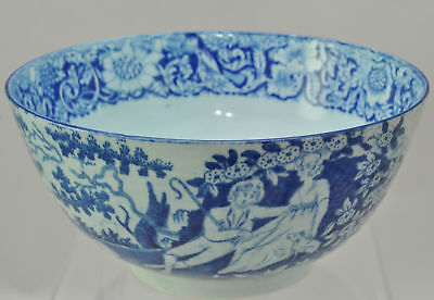Antique Pearlware Blue Staffordshire Transfer Shepherd Couple 6 Inch Bowl 1825