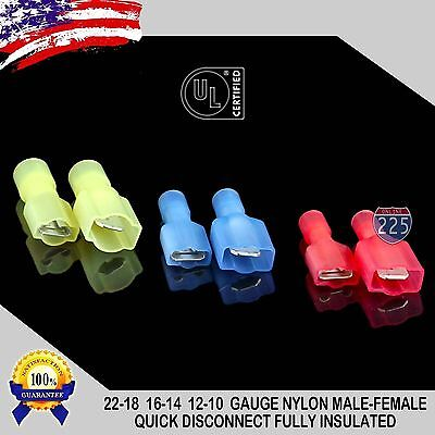 Male Female .250 Fully Insulated Nylon Quick Disconnect 12-10 16-14 22-18 GA LOT
