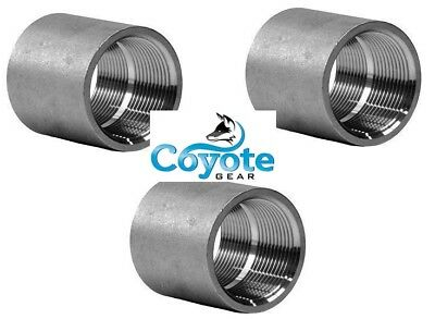 """3 Pack Lot: Coupling 1/2"""" NPT 304 Stainless Pipe Thread Fitting 150 Coyote Gear"""