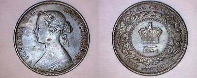 1864 New Brunswick 1 Large Cent World Coin - Canada