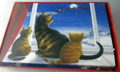 18 Kitten Cat Watching Santa Fly By Christmas Cards Glitter Kitty