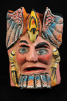 Mexican Wood Hanging Mask Folk Art Hand Crafted/Painted Collectible Parrot