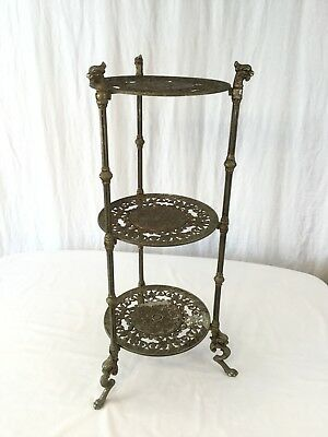 Vintage Hollywood Regency Griffin Dragon Brass Plated 3 Tier Plant Stand