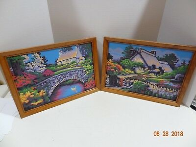 """Set of 2 Vintage 60's Paint By Number PBN Painting Cottage Wood Framed 9"""" x 13"""""""