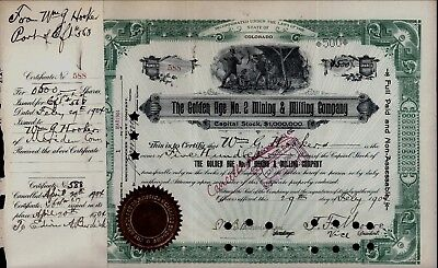 GOLDEN AGE NO. 2 MINING & MILLING CO. STOCK CERTIFICATE 500 Shares 1904 Colorado