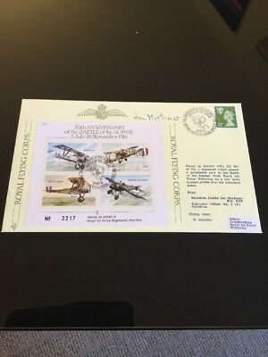 1986 70th Anniversary Of The Battle Of The Somme Signed Flight FDC