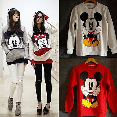 Women Mickey Mouse Hoodie Hooded Sweatshirt Coat Warm Pullover Sweater Tops