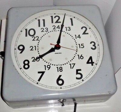 Rare Chelsea Large Gallery Ship Wall Clock Working Complete Electric Back-Light