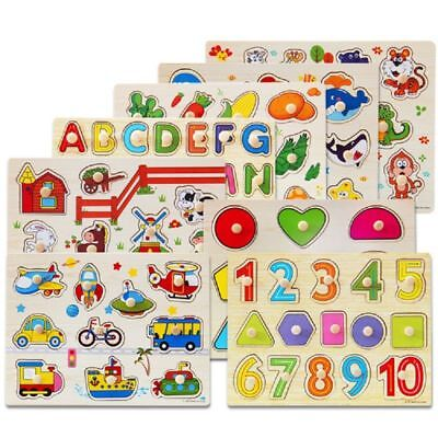 NEW Wooden Animal Puzzle Jigsaw Early Learning DIY Baby Kids Educational Toy