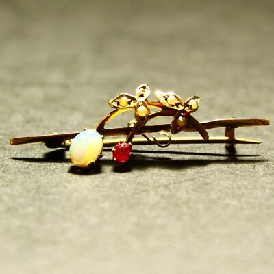 Antique 9ct Gold Opal Ruby & Stylised Seed Pearl Flower Brooch