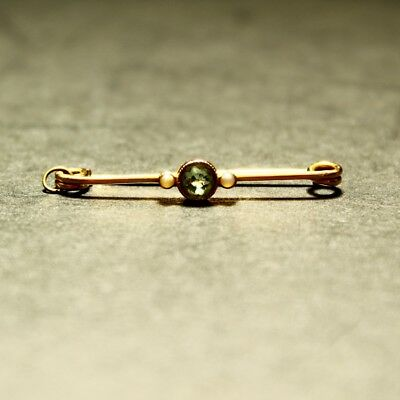 Antique 9ct Peridot & Seed Pearl Gold Brooch