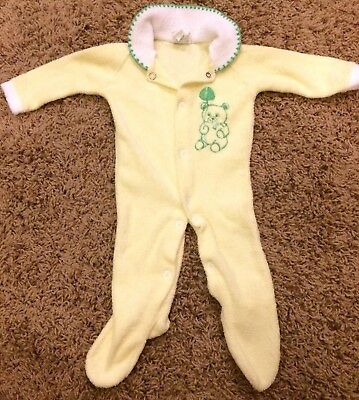 Vintage Terrycloth Cradle Crowd Baby Sleeper Yellow Green Embroidered Teddy Bear