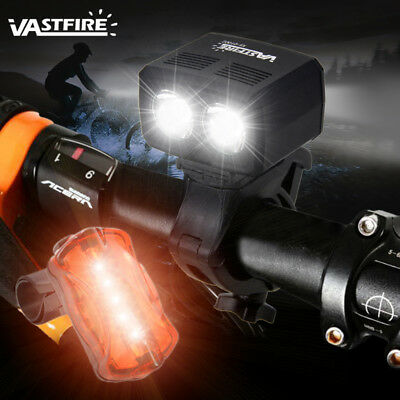 USB Rechargeable Front Bike Bicycle Light 2x XML T6 LED Front Rear Tail Lamp Set