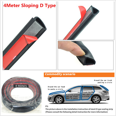 4M Sloping D Type Car Door Seal Strip Soundproof Rubber Trim Edge Weatherstrip