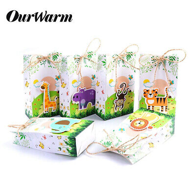 6xSafari Animals Paper Party Bag Loot Treat Gift Bags Candy Box for Kid Birthday