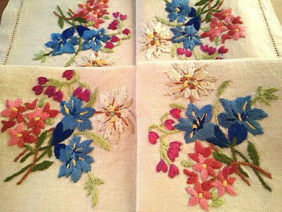 Stunning Flower Posies   ~Vintage Heavily Hand Embroidered Centrepiece /Tray-mat