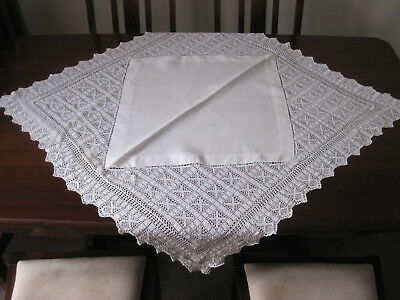 Beautiful White Crochet Lace Tablecloth With Linen Centre Square