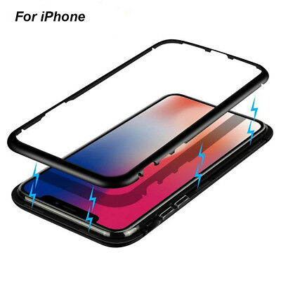Magnetic Metal Frame Tempered Glass Back Case Cover For iPhone XS MAX XR X 7 8