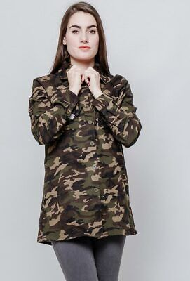 New Womens Army Military Style Green Brown Camouflage Loose Baggy Shirt Blouse