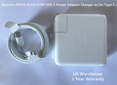 """Original A1719 87W USB-C Power Charger Adapter f/Apple MacBook PRO 15"""" 2m Cable"""