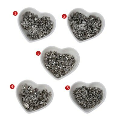 100PCS Silver Assorted Tibetan Flower Spacer Beads Caps Pendants Jewelry Finding
