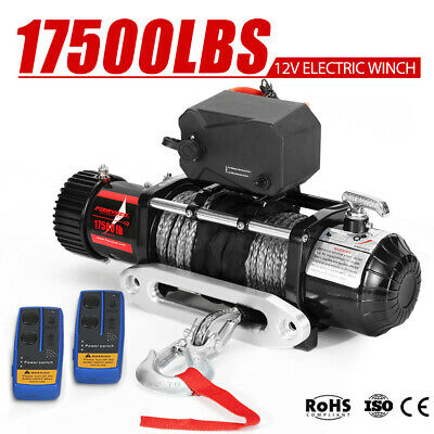 12V Wireless Electric Winch 17500LBS / 7938kg Synthetic Rope 4WD Truck 12 Volt