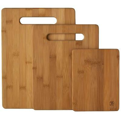 3 Piece Bamboo Cutting Board Set Wood Chopping Boards For Meat & Veggie Prep US