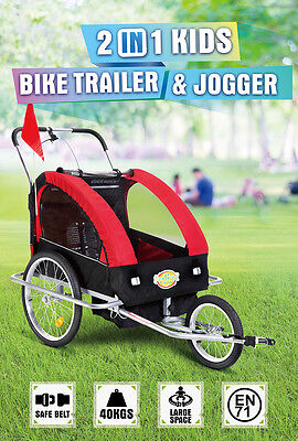 Kids Bike Trailer Children Bicycle Pram Stroller Jogger RED+BLACK BRAND NEW