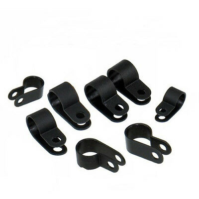 100pcs Nylon Plastic R Clips Clamps Fasteners Assorted For Cable Conduit