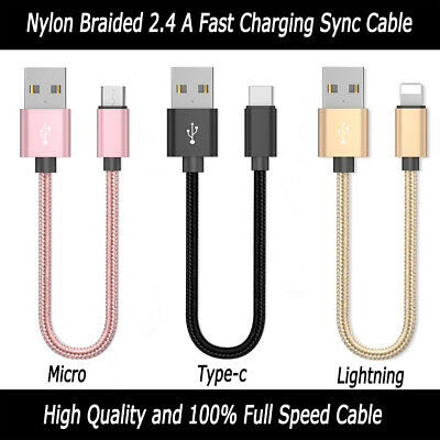 20cm Short Data Cable 8 INCH Fasr Charge Sync Cord Durable Nylon Braided Lead