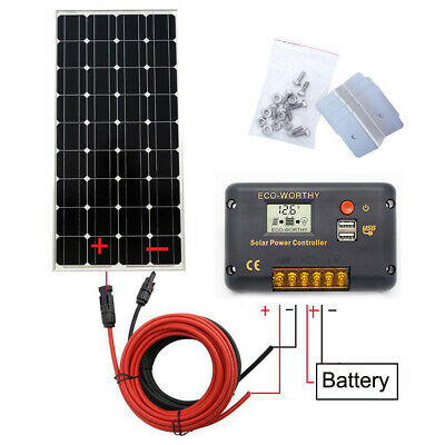 100W Mono Solar Panel Battery Charging & cable & 20A LCD Controller Home Caravan
