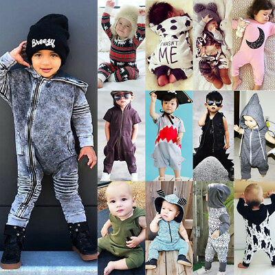 Brand Canis Kids Baby Boys Girls Hooded One Piece Jumpsuit Romper Outfit Clothes