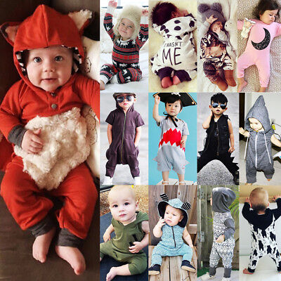 Boutique Kids Baby Boys Girls Hooded One Piece Jumpsuit Romper Outfit Clothes US