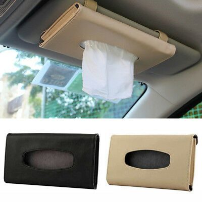 Hot HSun Visor Napkin Box Tissue Holder Paper Case Car Seat Auto PU Leather ~