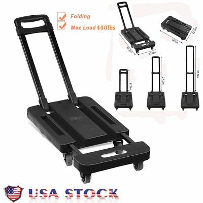 Folding 440LB Hand Truck Dolly Collapsible Cart Luggage Trolley & 6 Wheels VP