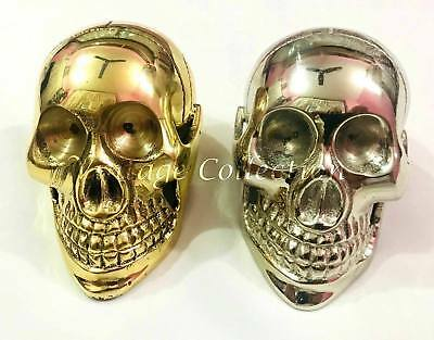 Lot of 2 New Antique Handmade Brass SKULL HANDLE for Wooden Walking Stick/ Canes
