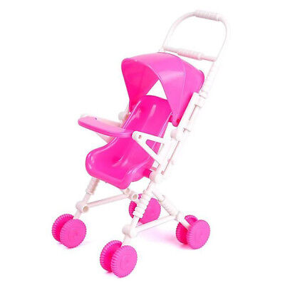 DIY Assembled Baby Buggy Stroller Pink Doll House Trolley Toy P2B2