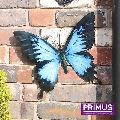 Primus Large Metal Butterfly - Blue Garden Wall Art Ornament Indoor / Outdoor