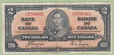 1937 Bank of Canada 2 Dollar Note - Coyne/Towers - L/R2709361 - F/VF